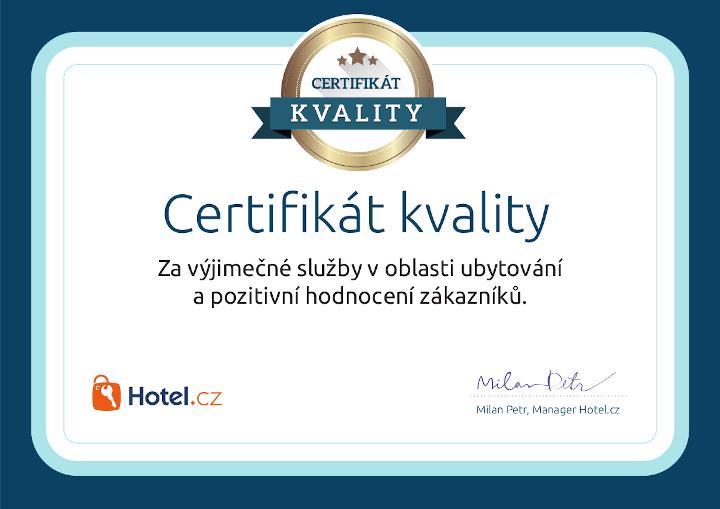 Certifkát Hotel.cz