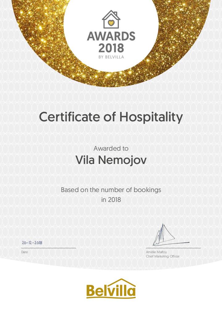 Certifkát Bevilla 2018 - Vila Les Království